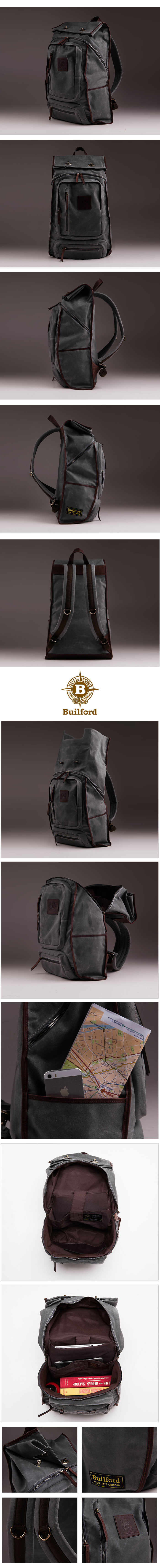 Waxed canvas backpack - Builford roll top safari backpack